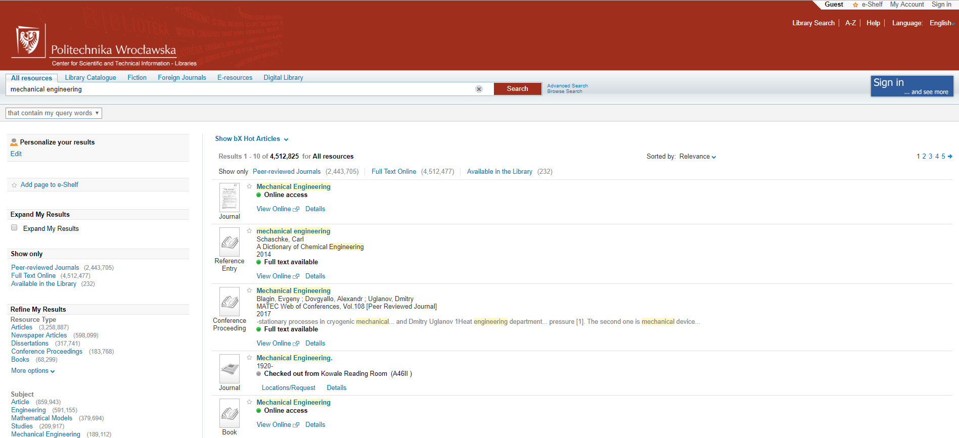 Primo Search Engine Library of Wrocław University of